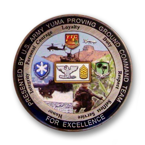 United States Army Yuma Proving Ground Challenge Coin - 2 inch, Antique Silver with photographic printing and epoxy