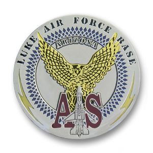 Luke Air Force Base Challenge Coin - 1.56 inch, Shiny Silver with gold plating and epoxy