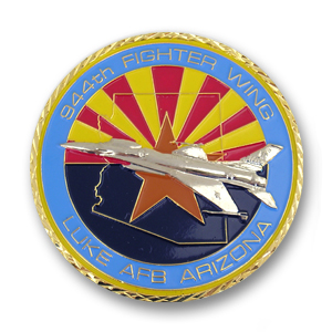 944th Fighter Wing Challenge Coin - 2 inch, Shiny Gold with silver plating and a Weave diamond cut edge